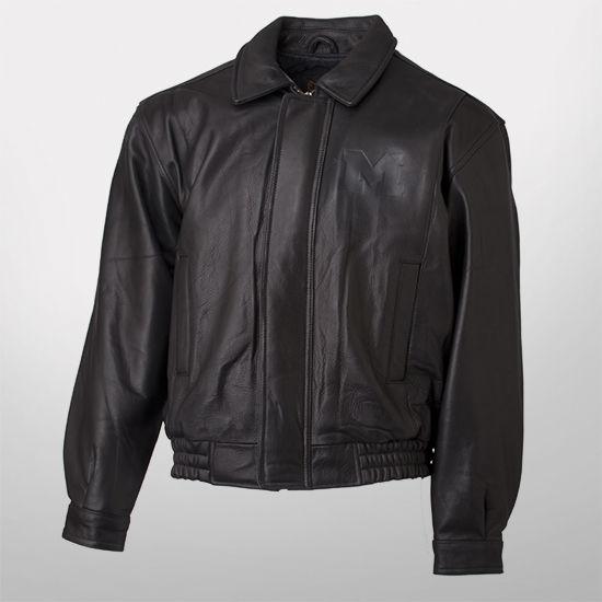 Canyon Outback University of Michigan Eagle Ridge Black Leather Bomber Jacket