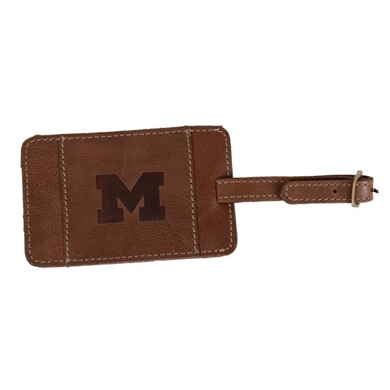 Carolina Sewn University of Michigan Tan Westbridge Leather Luggage Tag