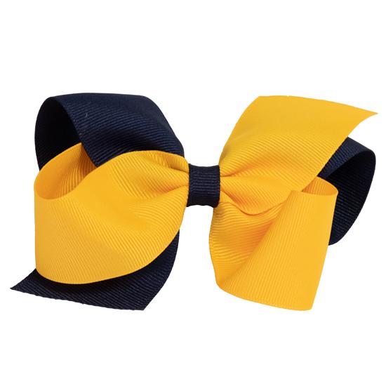 Divine Creations University of Michigan Navy/Yellow Loop Bow Hair Clip