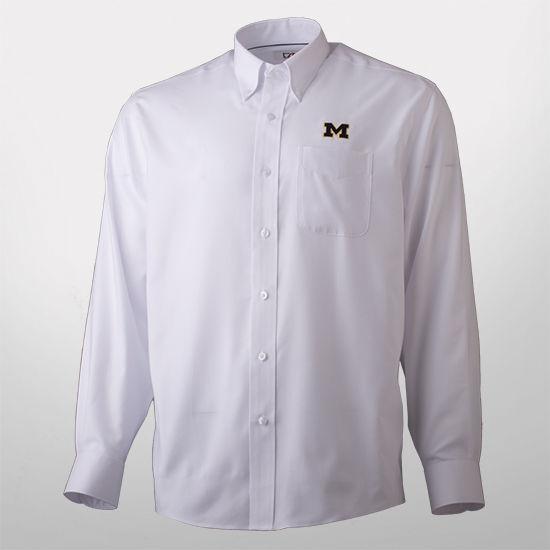 Cutter & Buck University of Michigan White Nailshead Long Sleeve Sport Shirt