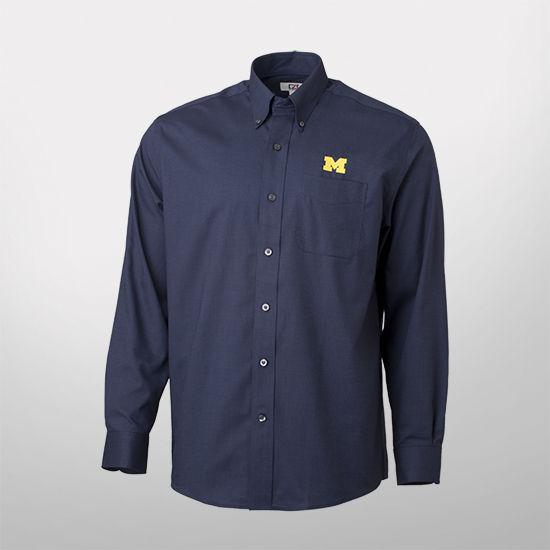 Cutter & Buck University of Michigan Navy Nailshead Long Sleeve Sport Shirt