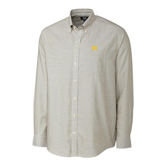 Cutter & Buck University of Michigan Camano Wrikle Free Yellow Check Sport Shirt