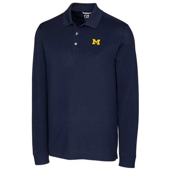 Cutter & Buck University of Michigan Navy Advantage Long Sleeve Polo
