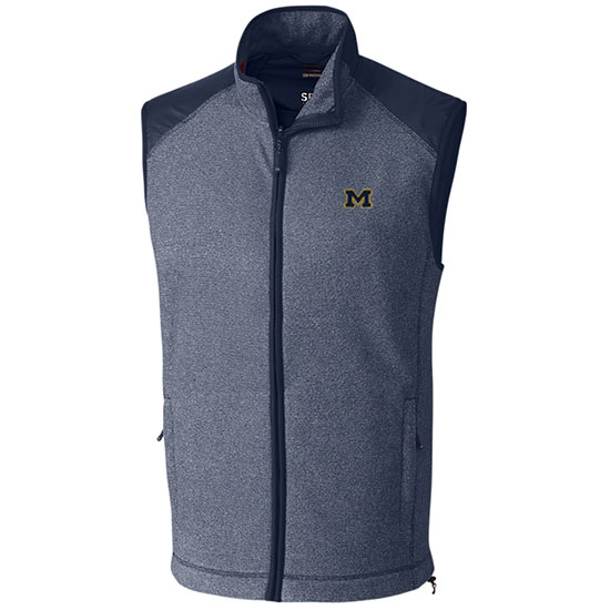 Cutter & Buck University of Michigan Heather Navy Cedar Park Full Zip Fleece Vest