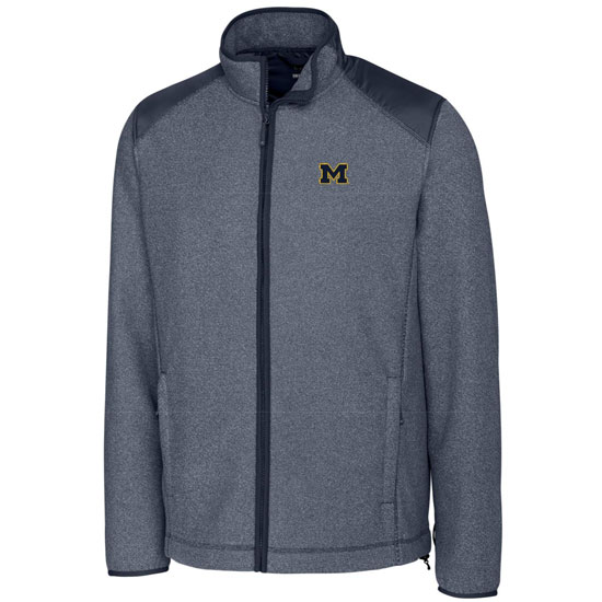 Cutter & Buck University of Michigan Heather Navy Cedar Park Full Zip Fleece Jacket