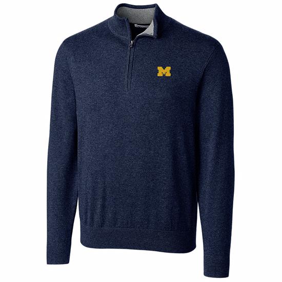 Cutter & Buck University of Michigan Navy Lakemont 1/2 Zip Pullover Sweater