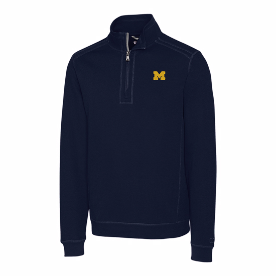 Cutter & Buck University of Michigan Navy Bayview Half-Zip Pullover Sweater