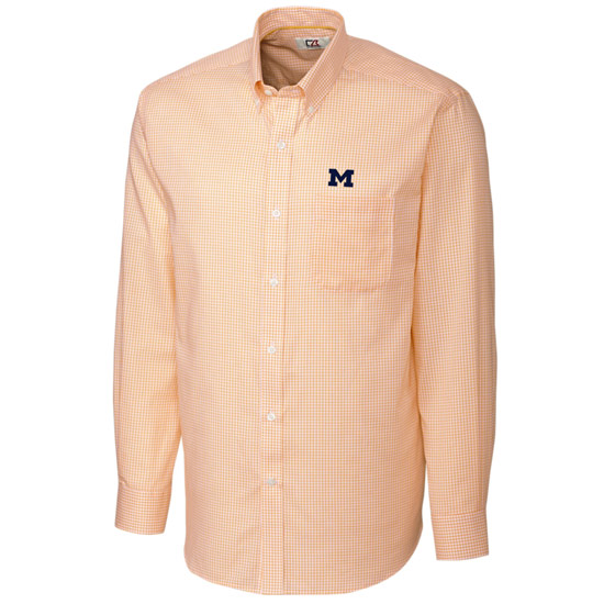 Cutter & Buck University of Michigan Yellow Epic Easy Care Tattersall Sport Shirt