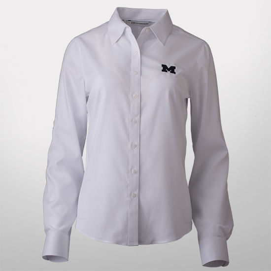 Cutter & Buck University of Michigan Ladies White Mini Herringbone Shirt