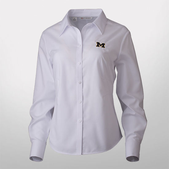 Cutter & Buck University of Michigan Ladies White Nailshead Shirt