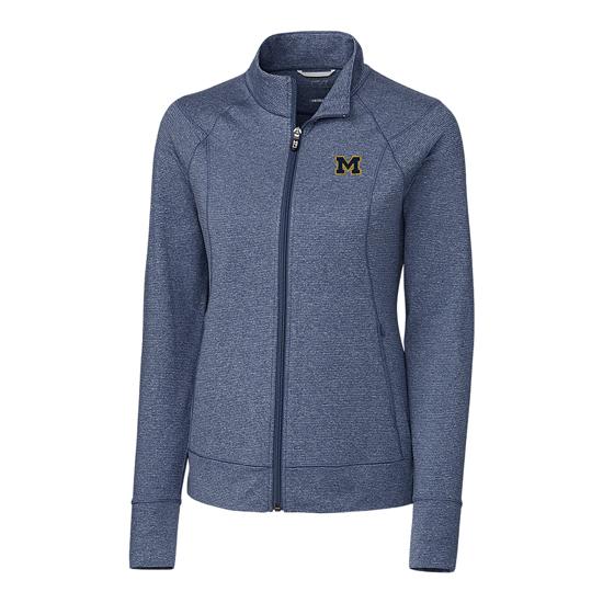 Cutter & Buck University of Michigan Women's Heather Navy ''Shorline'' Full Zip Jacket