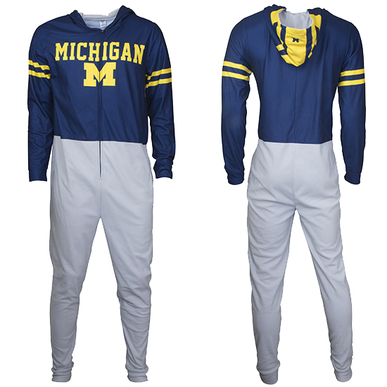 College Concepts University of Michigan Football ''Winged Helmet'' Microfleece Union Suit