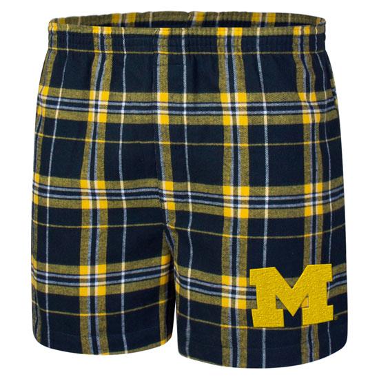 College Concepts University of Michigan Hillstone Plaid Flannel Boxer Shorts