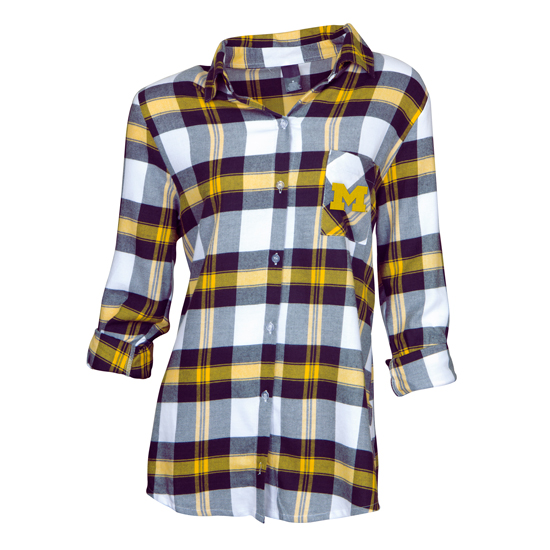 College Concepts University of Michigan Women's Headway Plaid Flannel Button-Down Night Shirt