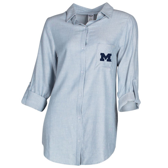 College Concepts University of Michigan Women's Chambray Long Sleeve Breakaway Nightshirt