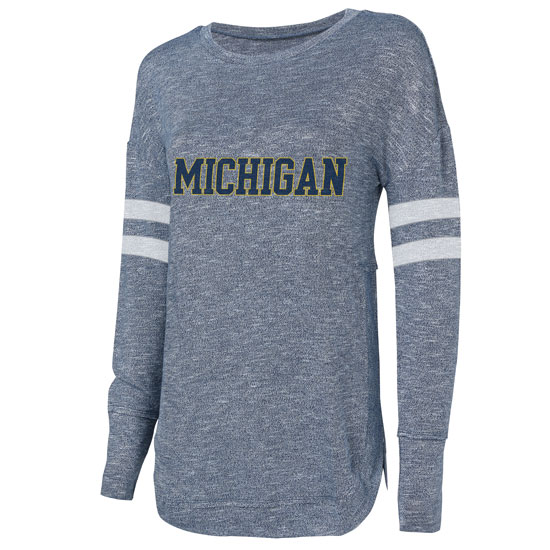 College Concepts University of Michigan Women's Heather Navy Marble Knit Top