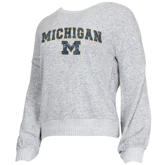 College Concepts University of Michigan Women's Gray Venture Crewneck Sweatshirt