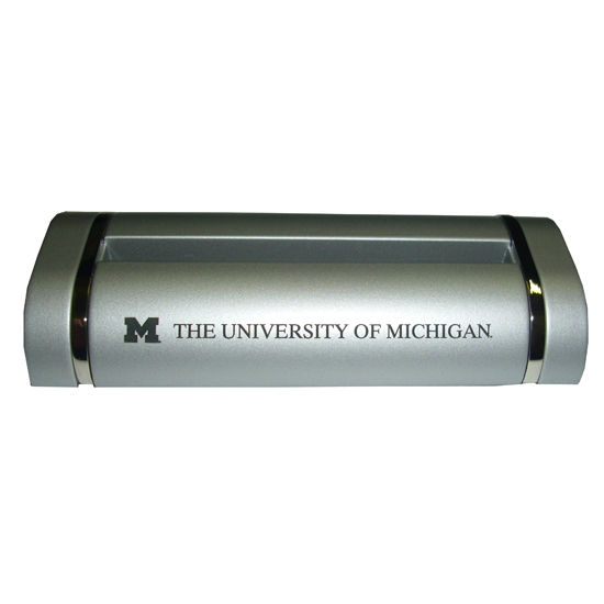 Lxg university of michigan two tone silver trillium business card holder colourmoves