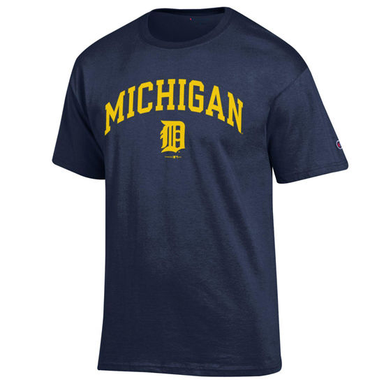 Champion University of Michigan/ Detroit Tigers Olde English 'D' Navy Tee