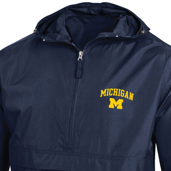 Champion University of Michigan Navy Packable Half-Zip Pullover Jacket