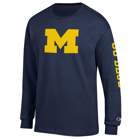 Champion University of Michigan Navy Block ''M'' with ''Go Blue'' Long Sleeve Tee