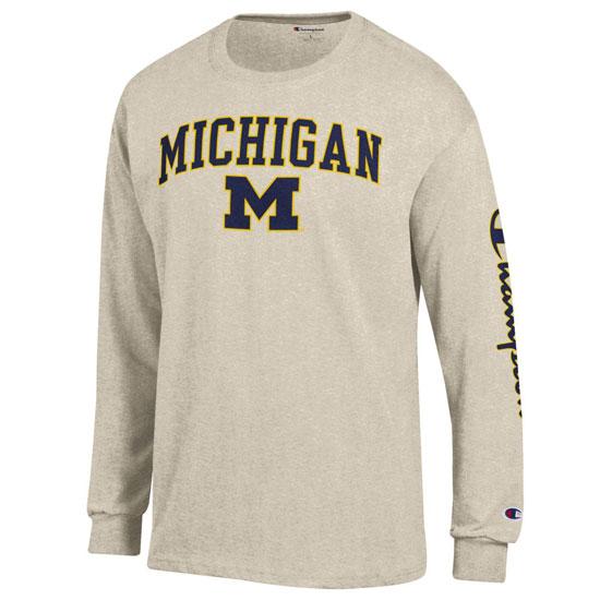 Champion University of Michigan Oatmeal Co-Brand Long Sleeve Tee