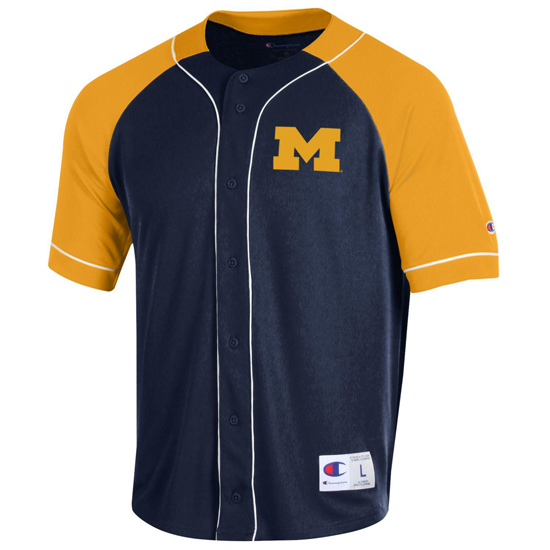 Champion University of Michigan Navy/Yellow Baseball Jersey