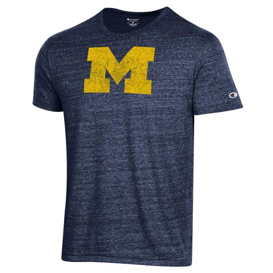 Champion University of Michigan Heather Navy Block ''M'' Logo Triblend Tee