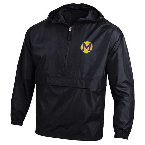 Champion University of Michigan Lollapalooza x College Vault Black Packable Half-Zip Pullover Jacket