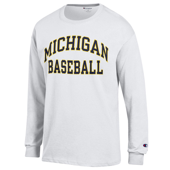 Champion University of Michigan Baseball White Long Sleeve Tee