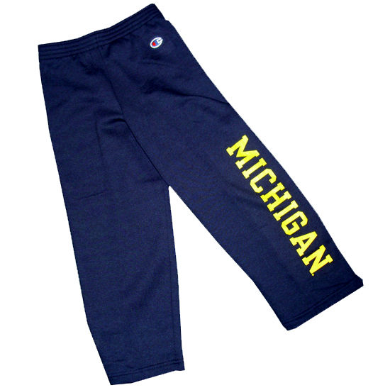 Champion University of Michigan Youth Navy Open Bottom Pant