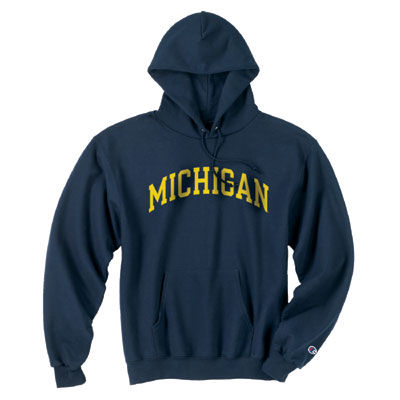 Champion University of Michigan Basic Navy Arc Hooded Sweatshirt