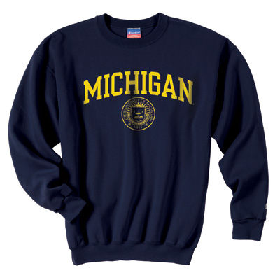 Champion University of Michigan Navy Seal Crewneck Sweatshirt