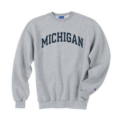 Champion University of Michigan Oxford Gray Basic Crewneck Sweatshirt