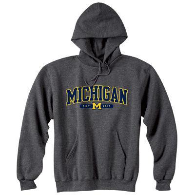 Champion University of Michigan Granite Tackle Twill Hooded Sweatshirt