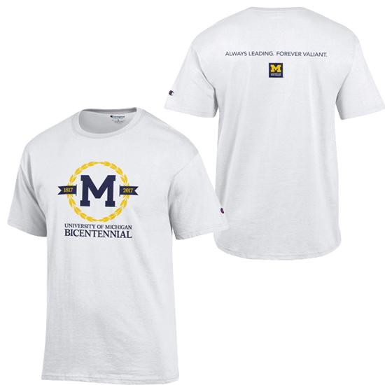 Champion University of Michigan Bicentennial White Logo Tee