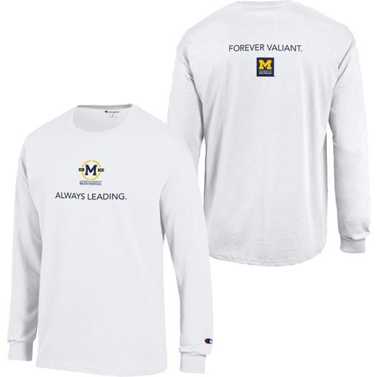 Champion University of Michigan Bicentennial White Long Sleeve Logo Tee