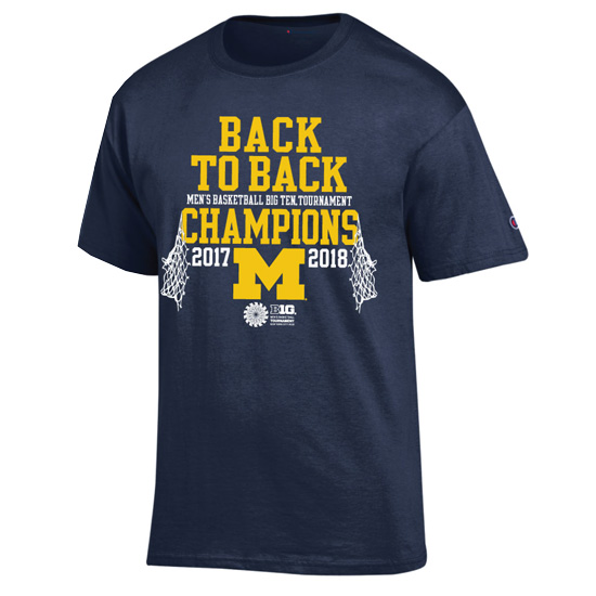 Champion University of Michigan Basketball Back-to-Back Big Ten Tournament Champions Navy Tee