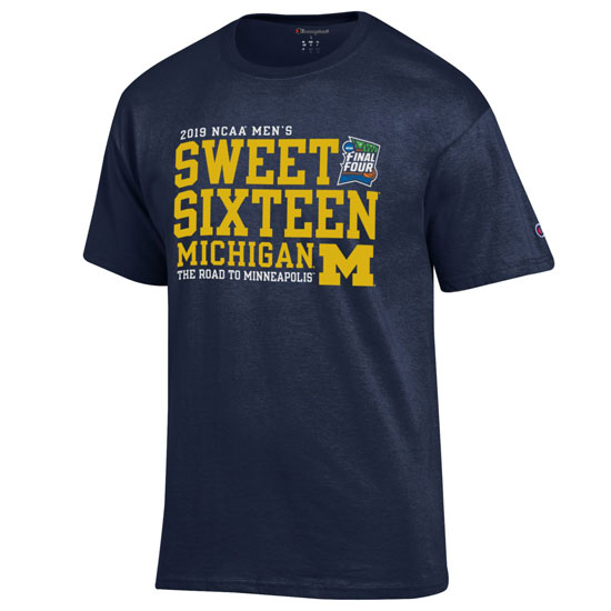 Champion University of Michigan Basketball Sweet 16 Navy Tee