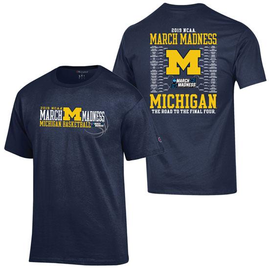 Champion University of Michigan Basketball March Madness Bracket Tee
