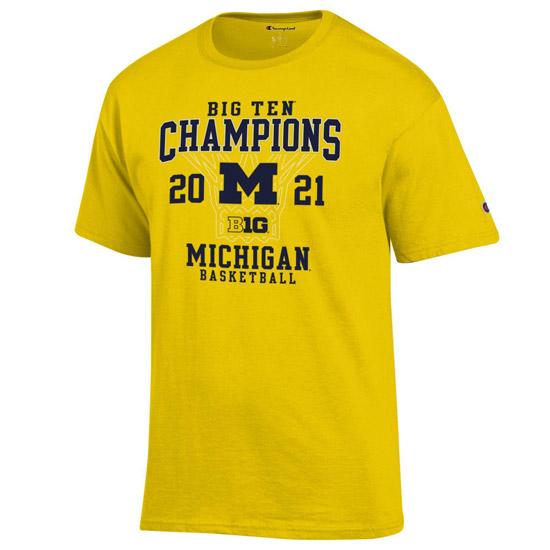Champion University of Michigan Basketball Big Ten Regular Season Champions Yellow Tee