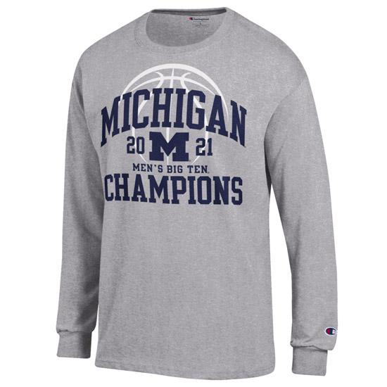 Champion University of Michigan Basketball Big Ten Regular Season Champions Gray Long Sleeve Tee