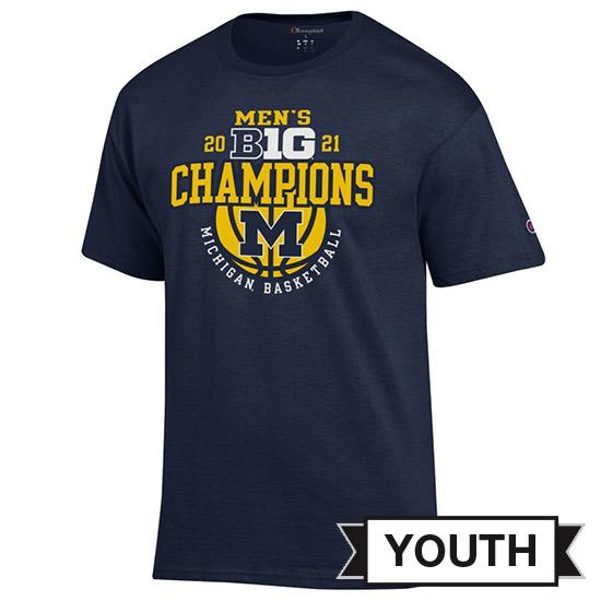 Champion University of Michigan Basketball Youth Big Ten Regular Season Champions Navy Tee