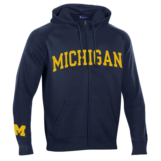 Champion University of Michigan Heritage Navy Full Zip Hooded Sweatshirt