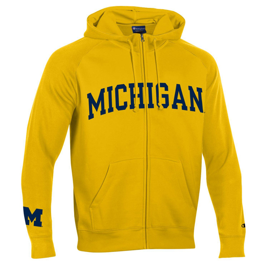 Champion University of Michigan Yellow Heritage Full Zip Hooded Sweatshirt