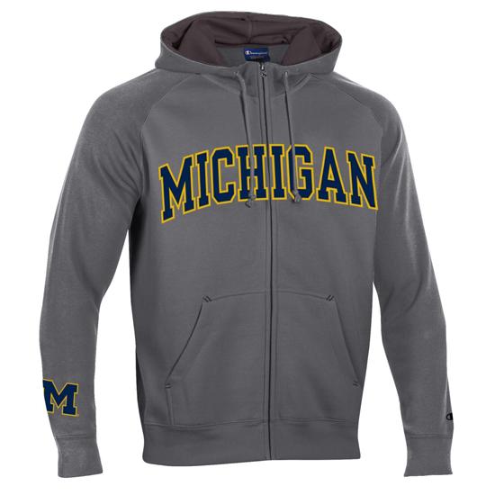 Champion University of Michigan Granite Heritage Full Zip Hooded Sweatshirt