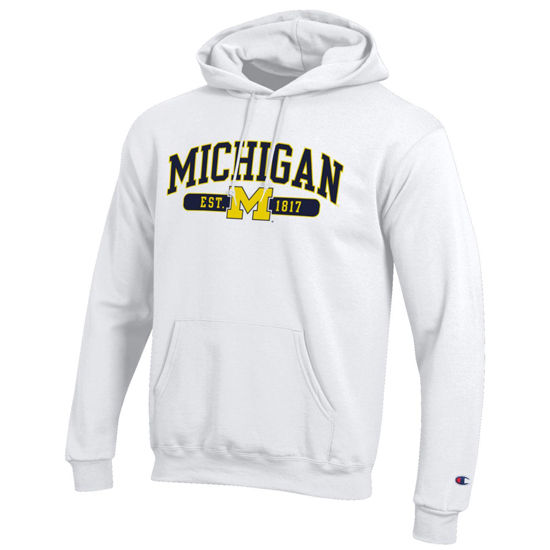Champion University of Michigan White Powerblend Hooded Sweatshirt