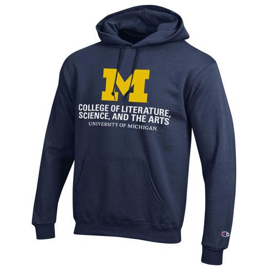 Champion University of Michigan L, S, & A Navy Hooded Sweatshirt