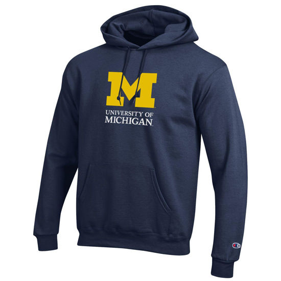 Champion University of Michigan Signature Mark Navy Hooded Sweatshirt