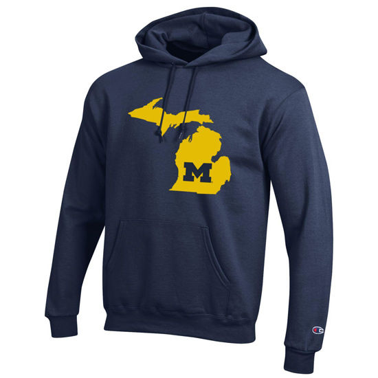 Champion University of Michigan State of Michigan Navy Hooded Sweatshirt